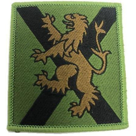 Ammo & Company TRF - Scot Reg - Brown Lion on Olive Scot Flag - 50 x 55mm