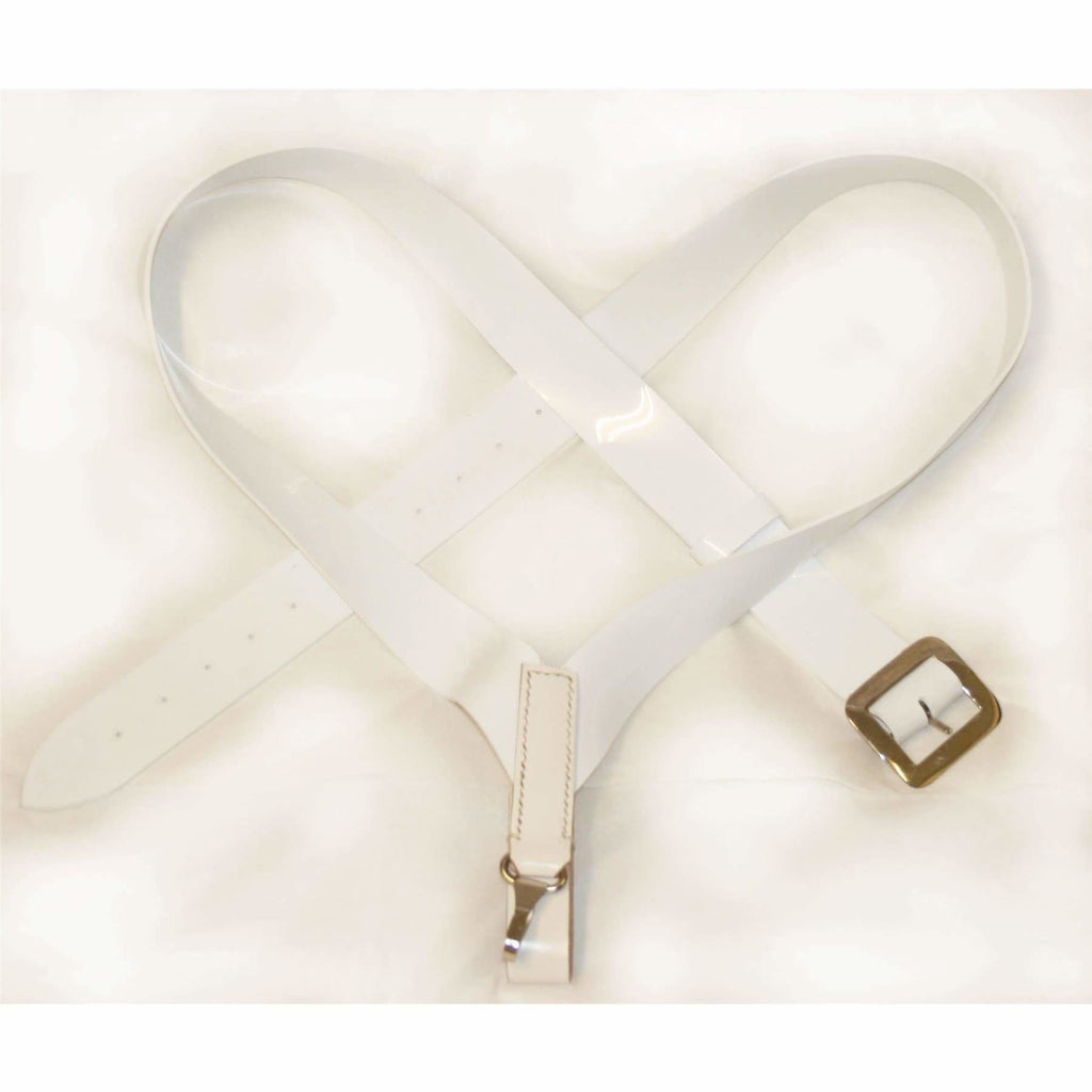 2 inch Bass Drum Sling Crossover Configuration White PVC Matt Finish with Chrome Buckles & Hook Fttings
