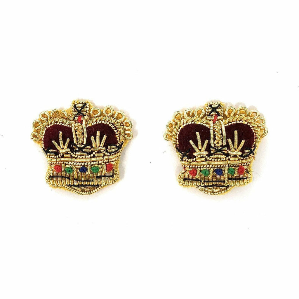 Embroidered Rank Crowns - Gold - 5/8 inch