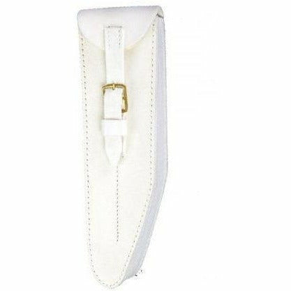 Guards Pattern Bb Flute Pouch White Leather Buff Finish Brass Fittings