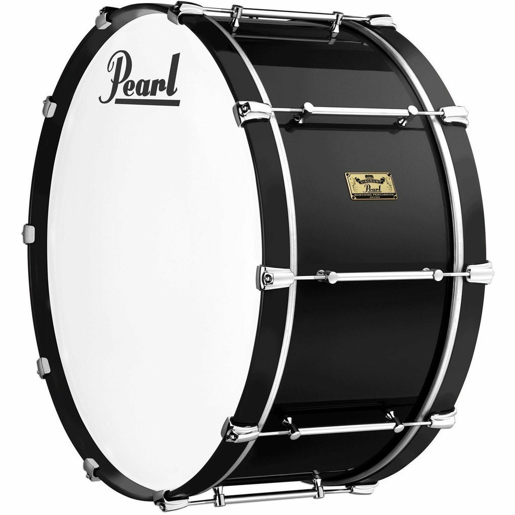 "Viscount Model Pearl Military Bass Drum  28"" x 12""  Black (B#46) Black Wooden Counterhoops [product_type] Pearl - Military Direct"