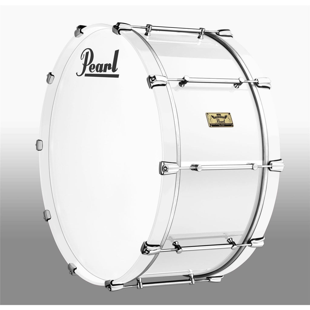 "Viscount Model Pearl Military Bass Drum  28"" x 14""  White (W#33) White Wooden Counterhoops [product_type] Pearl - Military Direct"