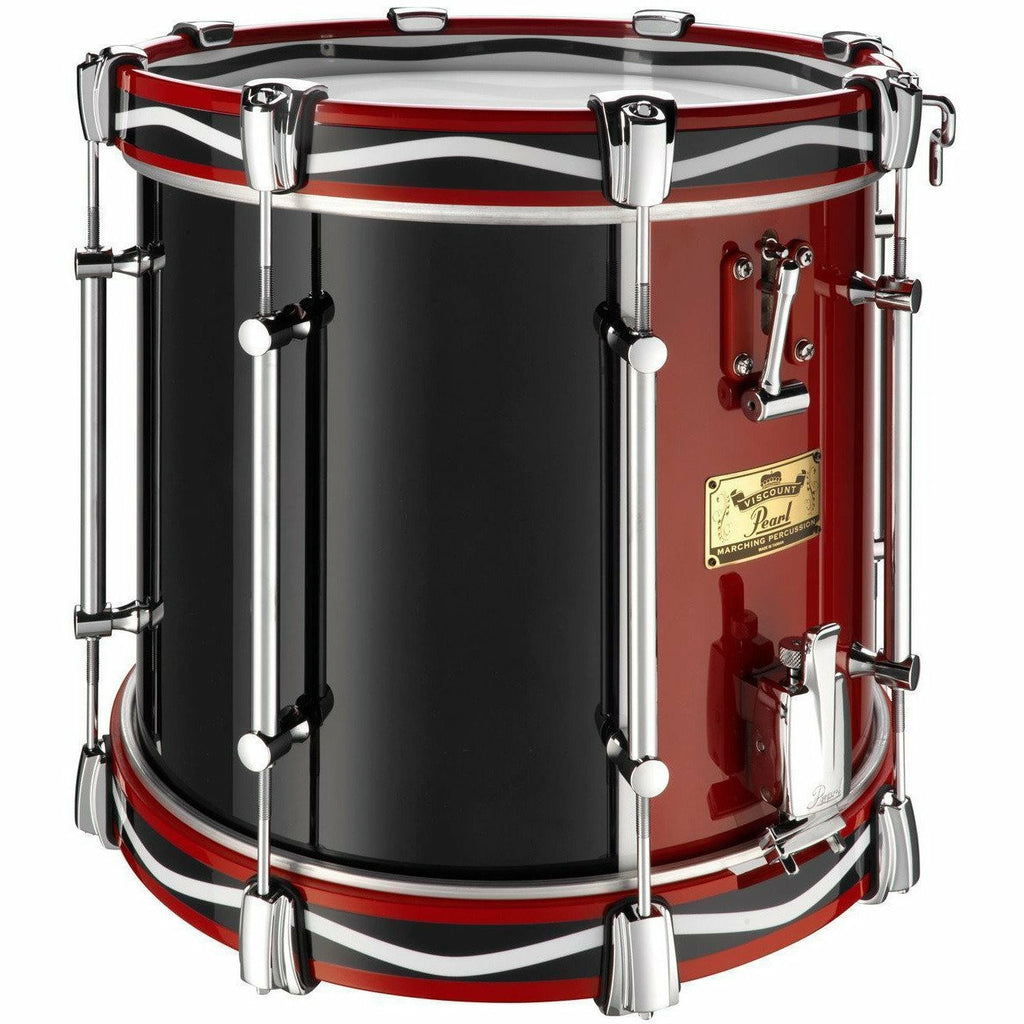 "Viscount Model Pearl Military Side Drum (Twin Snare) 14"" x 12"" Red & Blue (RB#795) Royal Pattern Wooden Counterhoops [product_type] Pearl - Military Direct"