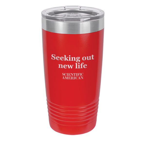 Seeking Out New Life Headline Laser Etched Tumbler