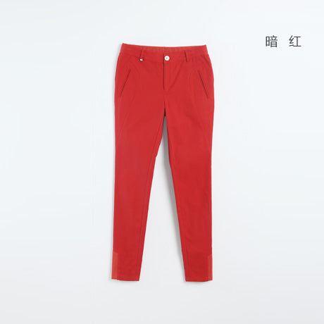 Toyouth 2017 Solid Elastic Waist Pencil Pants Women Winter Red Long Pants Slim Stretch Pencil Trousers