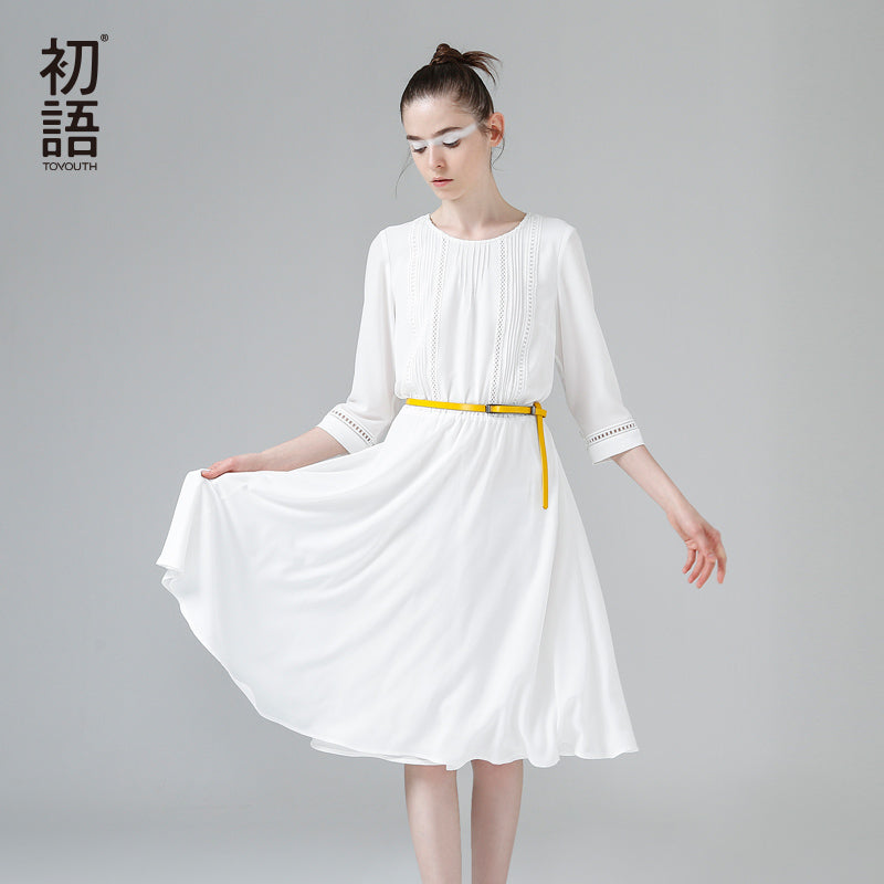 Toyouth New Arrival Dress 2017 Summer Women Pleated Solid O-Neck Half Sleeve A-Line Lady Casual Knee-Length Dresses