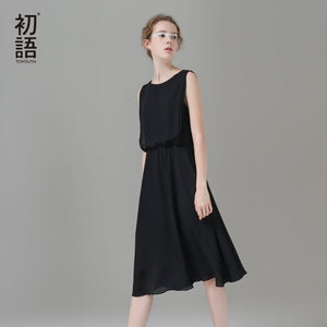 Toyouth Summer Women Sleeveless Round Neck Solid Dress 2017 Casual Chiffon Loose Beach Dresses Vestido