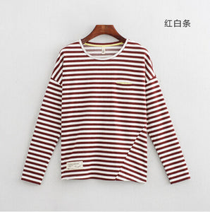Toyouth Women T-Shirts Batwing Long Sleeve Striped Pattern O-neck Casual T shirt Female Tees Cotton Elegant Ladies Tees Tops