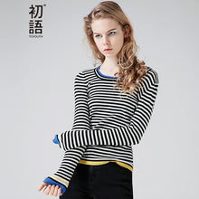 Toyouth Knitted Sweater 2017 Women Contrast Color Striped O-Neck Long Sleeve Slim Fit Warmth Sweater