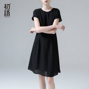 Toyouth New Arrival Summer Women Dress Fashion O-Neck Short Sleeve Chiffon Loose Dress Casual Female A-line Dresses