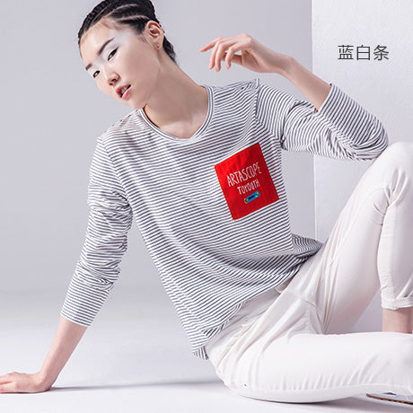 Toyouth New Striped T Shirts Women Long Sleeve O-Neck Slim Basic Tees Tops Female All-Match Casual T-Shirts