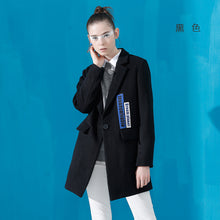 Toyouth Winter New Lapel Embroidered Patchwork Coat Female Woolen Jacket Slim Long Blends Coats