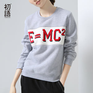 Toyouth New Arrival Women Casual Cotton Pullovers Sweatshirts Autumn Letter Printed Loose O-Neck Sweatshirts