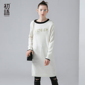 Toyouth 2017 New Arrival Women Acrylic Casual Dresses Autumn Letter Embroidery Knitting O-Neck Dresses