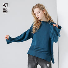 Toyouth Knitted Sweater 2017 Autumn Women Patchwork Solid Color Loose Flare Sleeve O-Neck Sweater