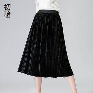 Toyouth Women Skirt Pleated Faldas Largas Jupe Femme Long Warm Elastic Waist Skirts For Women Elegant Female Green Velvet Skirts