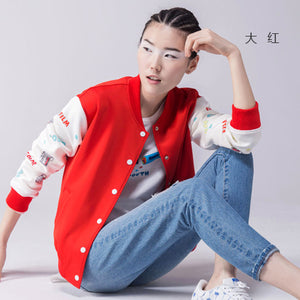 Toyouth 2017 Autumn New Arrival Baseball Jacket Women Fashion Character Letter Print Patchwork Short Jacket Coat Outwears