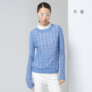 Toyouth New Arrival Women Acrylic Casual Pullovers Sweaters Autumn Solid Fashion Turn-down Collar Sweaters