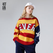 Toyouth Pullover Sweater Woman Long Sleeve Loose Jumper Pullover Striped Pattern Letter Printed Contrast Color Oversize Sweaters