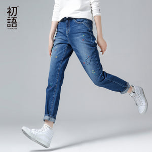 Toyouth Autumn Winter Jeans Women Star Embroidery Fashion Pencil Pants Female Slim Full Length Jeans Trousers