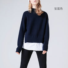 Toyouth Knitted Sweater 2017 Autumn Women Casual Solid Color Loose Fake Two Pieces High Collar Pullover Sweater