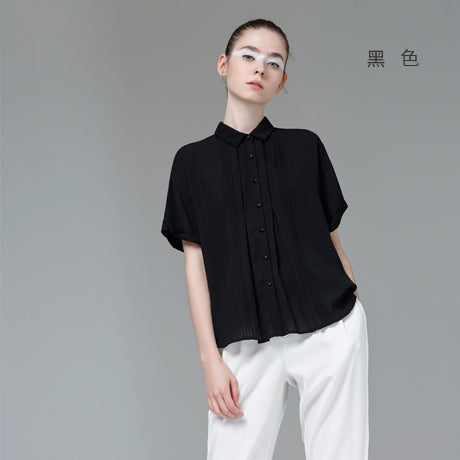 Toyouth Women Summer Turn-Down Collar Short Sleeve Blouse Casual Chiffon Solid Color Plated 2017 Female New Blouses Top