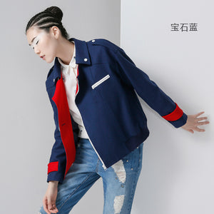 Toyouth New Arrival Women Casual Wool Blends Autumn Solid Patchwork Pockets Zippers Turn-down Collar Woolen Coat