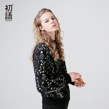 Toyouth Autumn Winter Women Sweater Dot Print Fashion Long Sleeve Black CLothing Femme Casual Loose O N Sweater