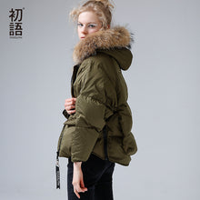Toyouth Fur Collar Down Light Womens Parka Coat Winter Women Thicken Warm Hooded Overcoat Jackets 80% White Duck Down Jacket