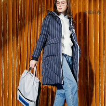 Toyouth Down Coats 2017 Winter Women Fashion Long Striped Hooded Thick Warm Fluffy Long Sleeves Down Coat