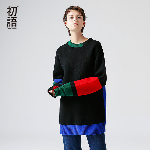 Toyouth 2017 Autumn Winter New Sweater Casual Loose  Long O Neck  Contrast Color Long Sleeves Warm Sweater