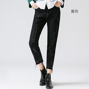 Toyouth Jeans 2017 Autumn Winter Women Vintage Straight Loose Black Pants Ankle-Length Trousers