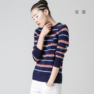 Toyouth Pullover Women Jacquard Pattern Crew Neck Long Sleeve Casual Knitted Sweater