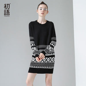 Toyouth 2017 Autumn Women Sweater Dress Geometric Pattern Long Sleeve Pullover Long Sweater