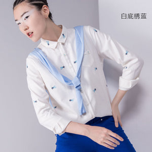 Toyouth 2017 Autumn New Blouses Women's All-Match Cotton Long Sleeve Embroidery Fashion Casual Shirts