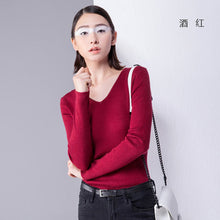 Toyouth Pullover Sweaters 2017 Autumn V-neck Long Sleeve All Match Solid  Knitted Slim Women Sweater