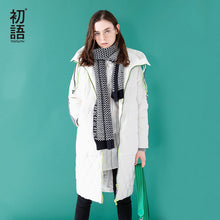 Toyouth Down Coat 2017 Winter Women Fashion  Long Thick Hooded Striped Long Sleeves Casual  Down Coat