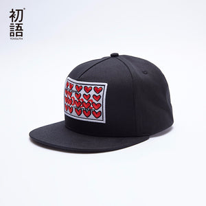 Toyouth 2017 Red Heart Embroidered Women Baseball Caps Letter Printed Female Black Hats Outdoor Sport Accessories