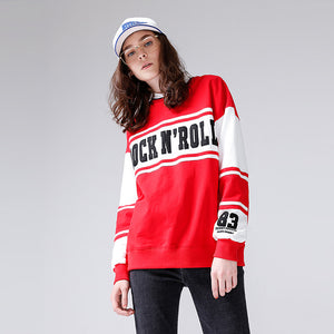 Toyouth Women Sweatshirts 2018 Spring New Collections O Neck Cotton Striped Printing Letters Loose Casual Female Sweatshirt