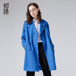 Toyouth Women Trench Coat 2018 Spring New Arrivals Loose Turndown Collar Single Breasted Buttons Long Solid Color Trench Coat