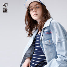 Toyouth 2018 Spring Women Jeans Jackets Loose Turndown Collar Printing Letters Tops Vintage Single Breasted  Jeans Jacket