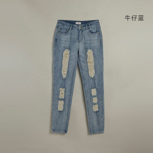 Toyouth Women Boyfriend Casual Pencil Pants Fashion Vintage Loose Hole Jeans Roll-Up All-Match Harem Jeans XXL Size