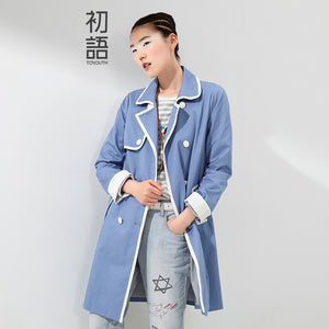 Toyouth 2016 Women Autumn New Medium-long Color Block Outerwear Double Breasted Solid Women Jacket Coat
