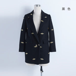 Toyouth 2016 Winter Women Woolen Coat 2016 Fashion Fish Embroidery Long Wool Blends Over Coat