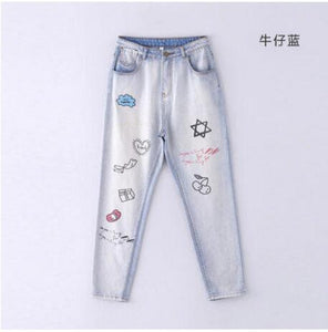 Toyouth Jeans Women Streetwear Graffiti Printed Jeans Pants Casual Mid-Waist Trousers Female Denim Pantalons Vintage Harem Pants