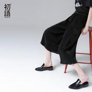 Toyouth Women Summer Wide Leg Pant Fashion Velvet Loose Plated Calf-Length Pant New Arrival Solid Color Female Straight Trousers