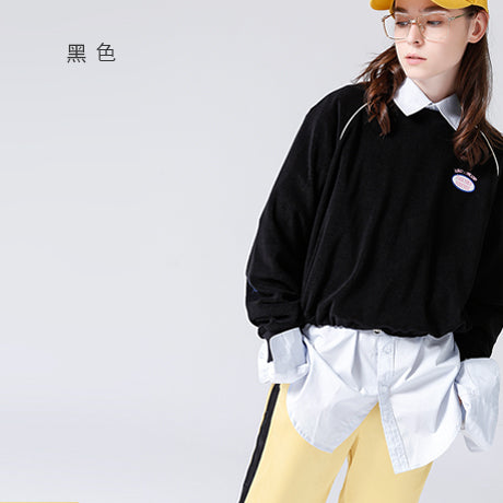 Toyouth 2018 Spring Women Sweatshirts Loose Short O Neck Letters Embroidery Pullovers Elastic Waist Long Sleeves Sweatshirt