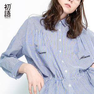 Toyouth Blouses 2018 Spring New Arrivals Turndown Collar Striped Shirt Long Sleeves Letters Embroidery Cotton Casual Blouse