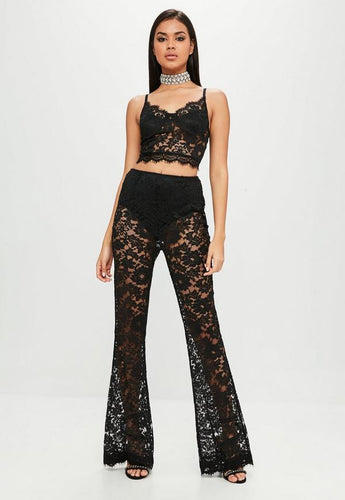 cff8040cac226 Carli Bybel x Missguided Black Lace Wide Leg Trouser
