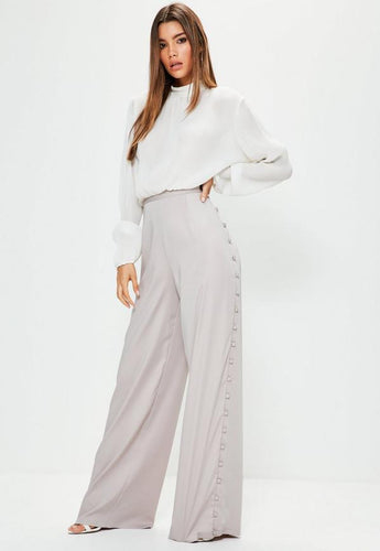 5b70fd1a14160 Tall Grey Cover Button Side Wide Leg Trousers